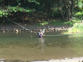 Crossing Waimanu stream